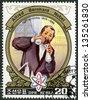 NORTH KOREA - CIRCA 1984: A stamp printed in North Korea shows Alfred Bernhard Nobel (1833-1896) in laboratory, 150th Anniversary Birth, circa 1984 - stock photo