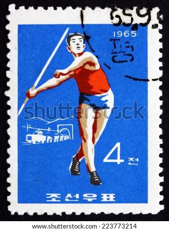 NORTH KOREA - CIRCA 1965: a stamp printed in North Korea shows Javelin, Sport, circa 1965 - stock photo