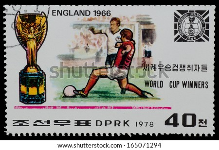 """NORTH KOREA - CIRCA 1978: A Stamp printed in NORTH KOREA shows the  England world Cup champion (1966) from the series """"World Cup Winners"""", circa 1978 - stock photo"""