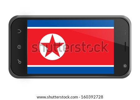 North Korea flag on smartphone screen isolated on white - stock photo