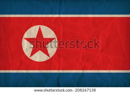 North Korea flag pattern on the paper texture ,retro vintage style - stock photo