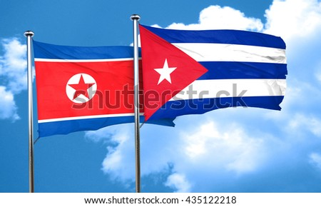 North Korea flag with cuba flag, 3D rendering