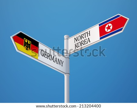 North Korea Germany High Resolution Sign Flags Concept - stock photo