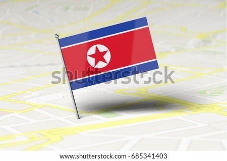 North Korea National Flag Location Pin Stock Illustration 685341403