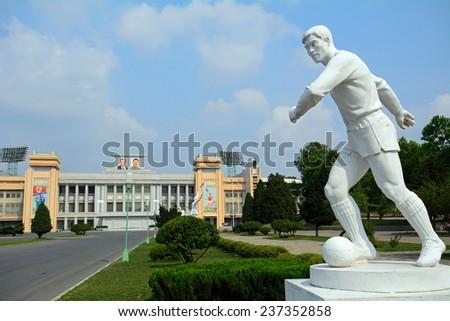NORTH KOREA, PYONGYANG - JUNE 11: Kim Il-sung Stadium at June 11, 2014 in Pyongyang, North Korea. Football in North Korea is very popular. - stock photo
