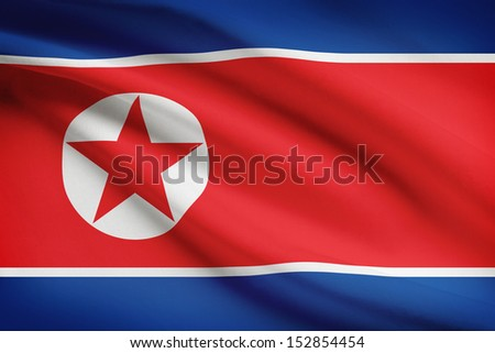 North Korean flag blowing in the wind. Part of a series.