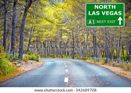 NORTH LAS VEGAS road sign against clear blue sky - stock photo