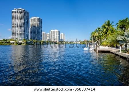 North Miami Intracoastal Waterway with condominiums. - stock photo