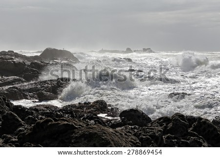 North of Portugal coastline in a day full of moisture - stock photo