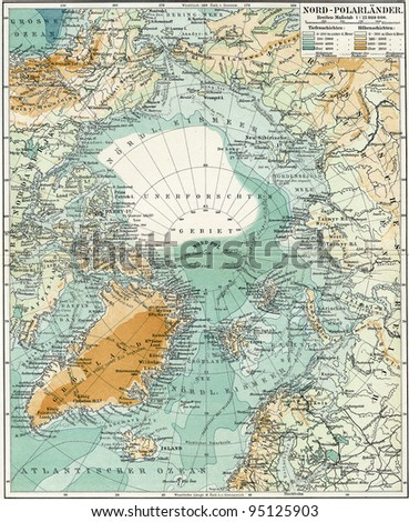 "North Pole. Map of the ocean, islands and land around it. Publication of the book ""Meyers Konversations-Lexikon"", Volume 7, Leipzig, Germany, 1910 - stock photo"