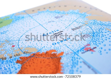 North Pole with Arctic ocean. - stock photo