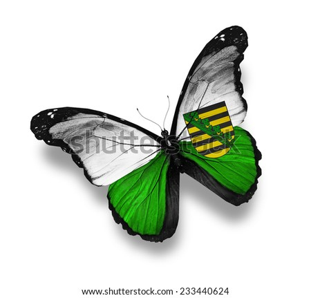North Rhine-Westphalia flag butterfly, isolated on white - stock photo