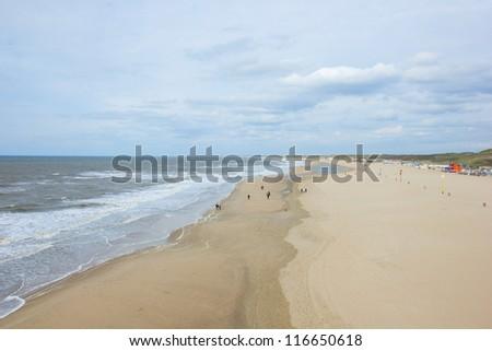 North Sea and beach near Hague, Netherlands - stock photo