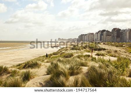 North Sea coast at Knokke-Heist near Zeebrugge, Belgium - stock photo