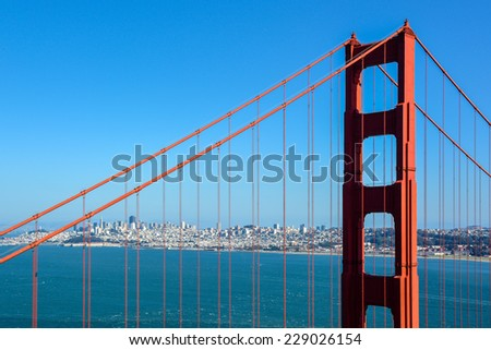 North Tower of Golden Gate Bridge and the City of San Francisco, California - stock photo