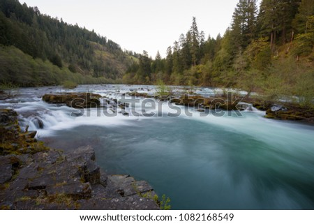 North Umpqua River wild and scenic section in the Umpqua National Forest of Oregon near the town of Glide.