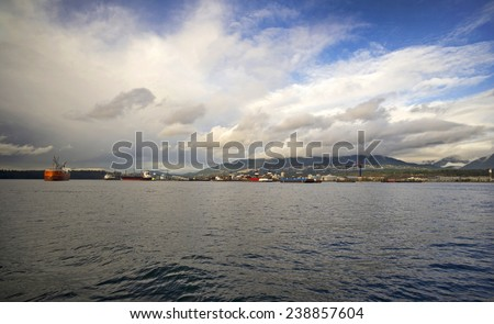 North Vancouver and Burrard Inlet with ships - stock photo