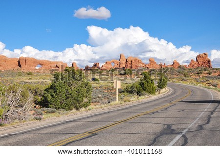 North Window and Turret Arch, Arches National Park, Moab, Utah, USA - stock photo