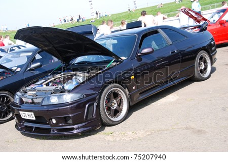 NORTHANTS, ENGLAND - MAY 11: Black Nissan Skyline GTR on Display at the Annual Rising Performance, Tuning, Modified on May 11, 2008 in Northants, England, UK.  Santa Pod is host to the show