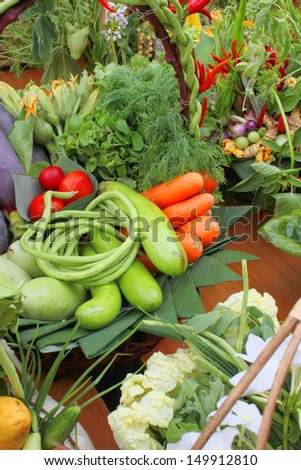 Northeastern Thai local vegetables and fruits in basket decoration