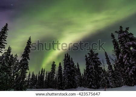 Northen lights in Akaslompolo, Lapland, Finland