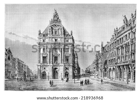 Northern and Anspach Boulevards and the Place de Brouckere in Brussels, Belgium, drawing by Catenacci based on a photograph by Levy, vintage illustration. Le Tour du Monde, Travel Journal, 1881 - stock photo