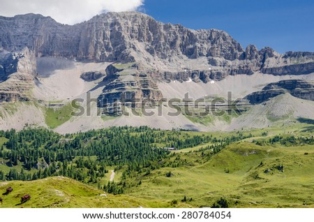 Northern Brenta Dolomites mountain range as seen from Monte Spinale, Western Dolomites, Rhaetian Alps, Trentino, Alto Adige, Italy