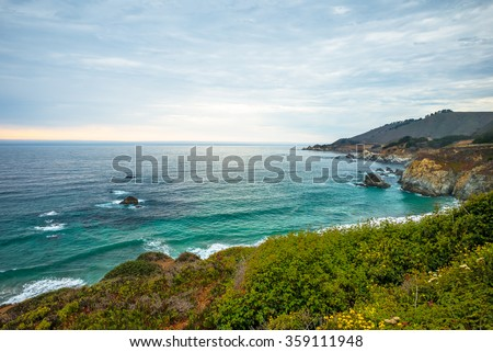 Northern California Coastline, Big Sur, USA.  Sunset taken near Monterey. - stock photo