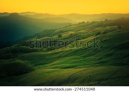 Northern California Landscape. Scenic Vista East From Eureka, Humboldt County, California, United States.  - stock photo