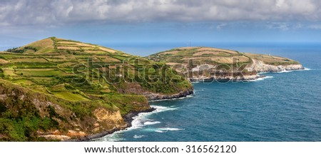 Northern coast of Sao Miguel, Azores Islands, seen from Santa Iria viewpoint.  - stock photo