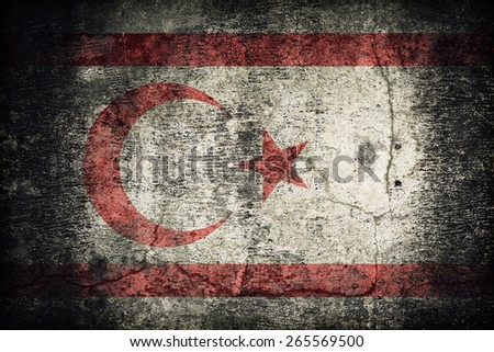 Northern Cyprus flag pattern on dirty old concrete wall texture ,retro vintage style - stock photo