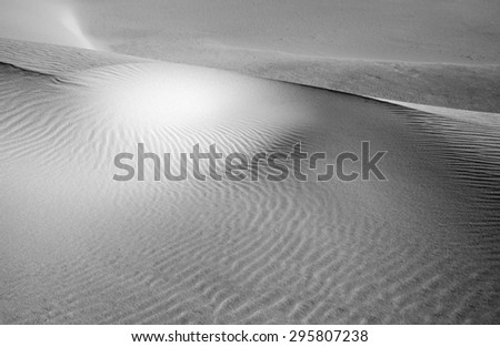 Northern Fuerteventura, Canary Islands, nature reserve Dunes of Corralejo, monochrome