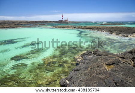 Northern Fuerteventura, small shallow lagoons around lighthouse  Faro de Toston close to El Cotillo village