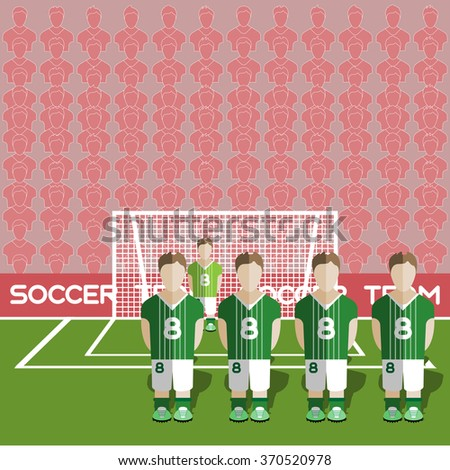 Northern Ireland Football Club Soccer Players Silhouettes. Computer game Soccer team players big set. Sports infographic. Football Teams in Flat Style. Goalkeeper Standing in a Goal. - stock photo