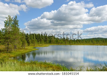 Northern landscape. White clouds over blue lake - stock photo