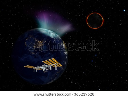 "northern light and solar eclipse""Element s of this image furnished by NASA "" - stock photo"