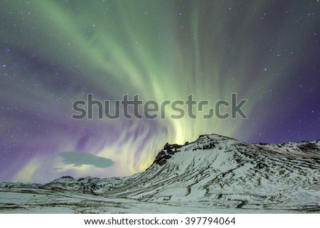 Northern Light Aurora borealis at Vik Iceland - stock photo