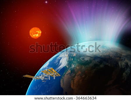 "northern light ""Element s of this image furnished by NASA "" - stock photo"
