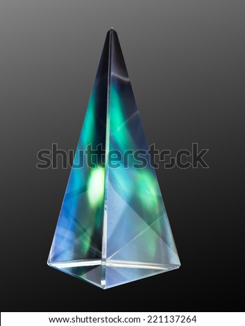 northern light in a glass prism - stock photo