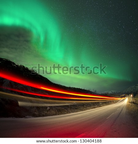 Northern Lights and trails, Northern Norway. - stock photo