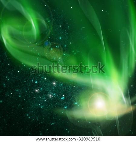 northern lights ,aurora borealis - stock photo