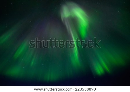 Northern lights (Aurora borealis) In Abisko national park - stock photo