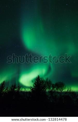Northern lights (Aurora Borealis) in Iceland - stock photo