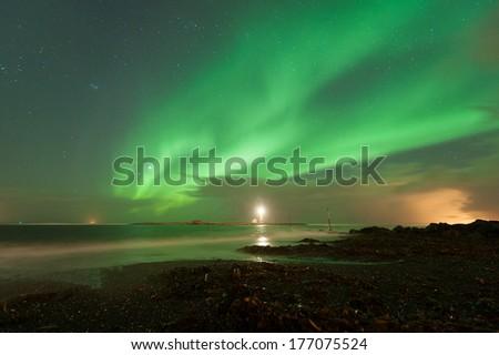 Northern lights in Reykjavik, Iceland. - stock photo