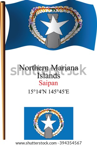 northern mariana islands wavy flag and coordinates against white background, art illustration, image contains transparency