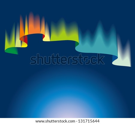 Northern or polar lights, copy-space background, hi-res raster from vector illustration - stock photo