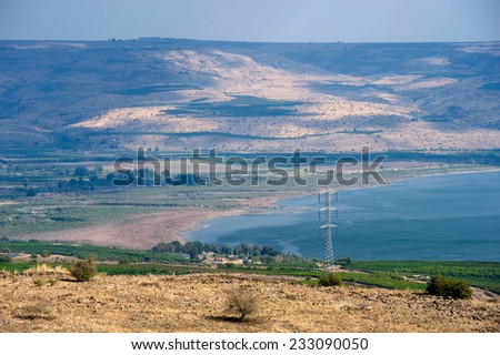 Northern part of the lake of Galilee as seen from the west, on the back are hills of the Golan Heights.   - stock photo