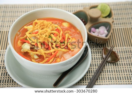 Northern Thai cuisine, Curried Noodle Soup with coconut milk (Khao soi).
