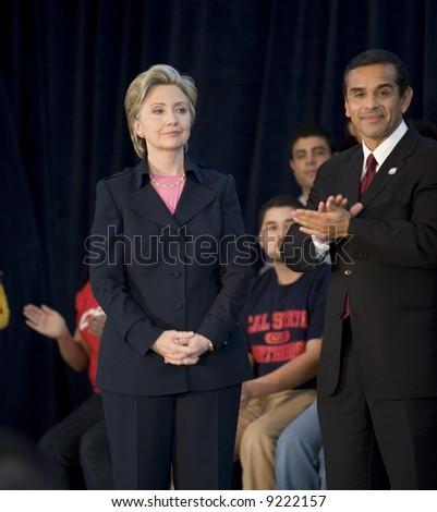 Northridge, CA January 17, 2008:  Presidential candidate Senator Hillary Clinton being introduced by Antonio Villaraigosa at a rally at California State University Northridge (CSUN). - stock photo