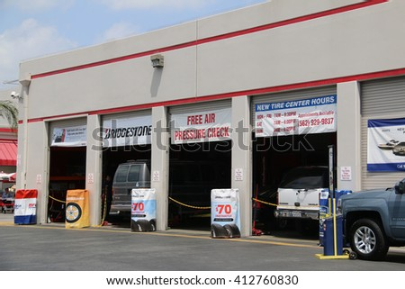 Norwalk, California, USA - April 27, 2016: Costco Tire Center provide tire change and other services for Costco members. - stock photo